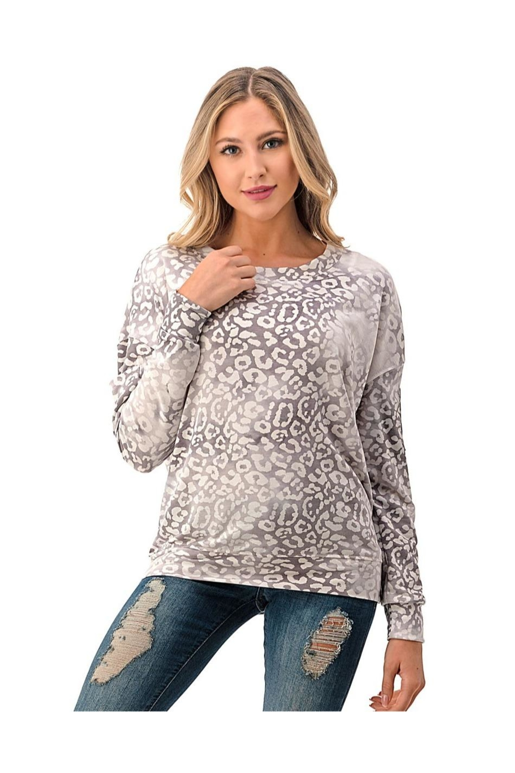 Ariella USA Leopard Relaxed Top - Front Cropped Image