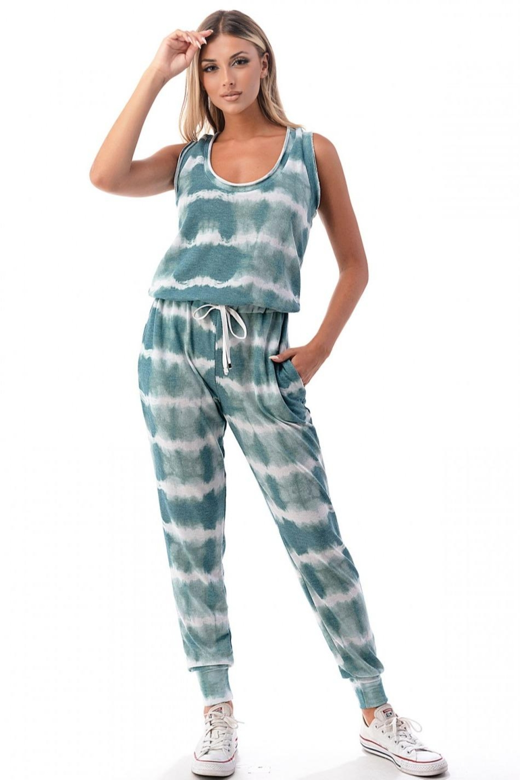 Ariella USA Racerback Tie-Dye Jumpsuit - Front Cropped Image