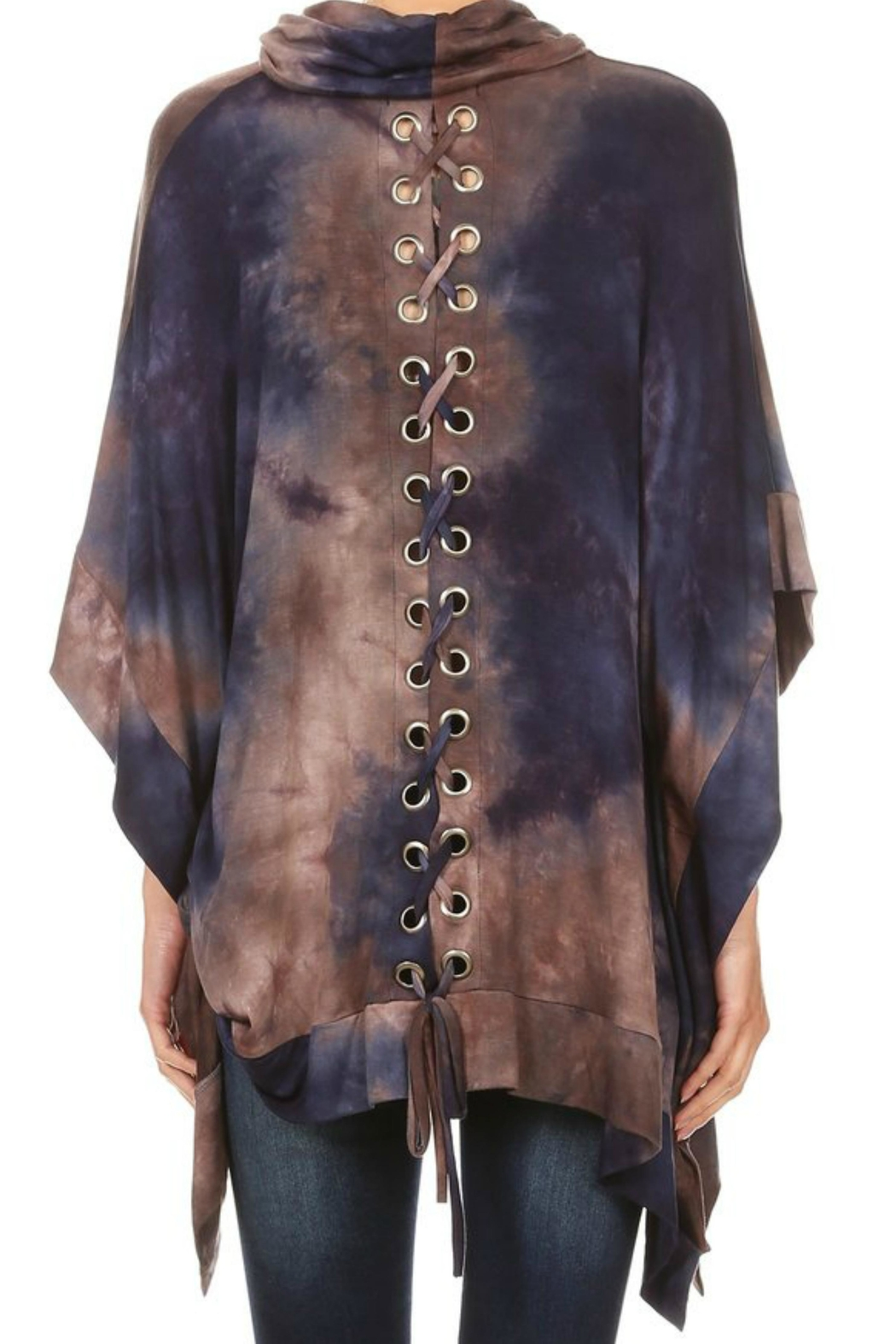 Ariella USA Tiedye Laced Poncho - Front Cropped Image