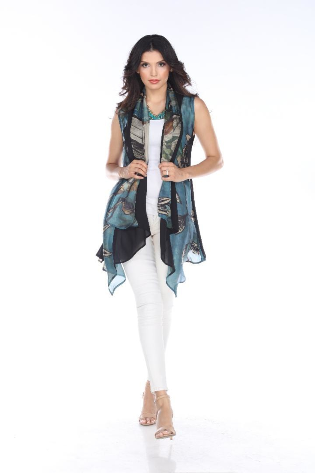 Aris A Waterfall Chiffon Vest - Front Cropped Image
