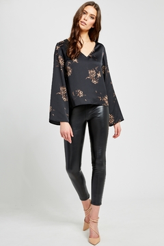 Gentle Fawn Arisa luxe black floral blouse - Product List Image