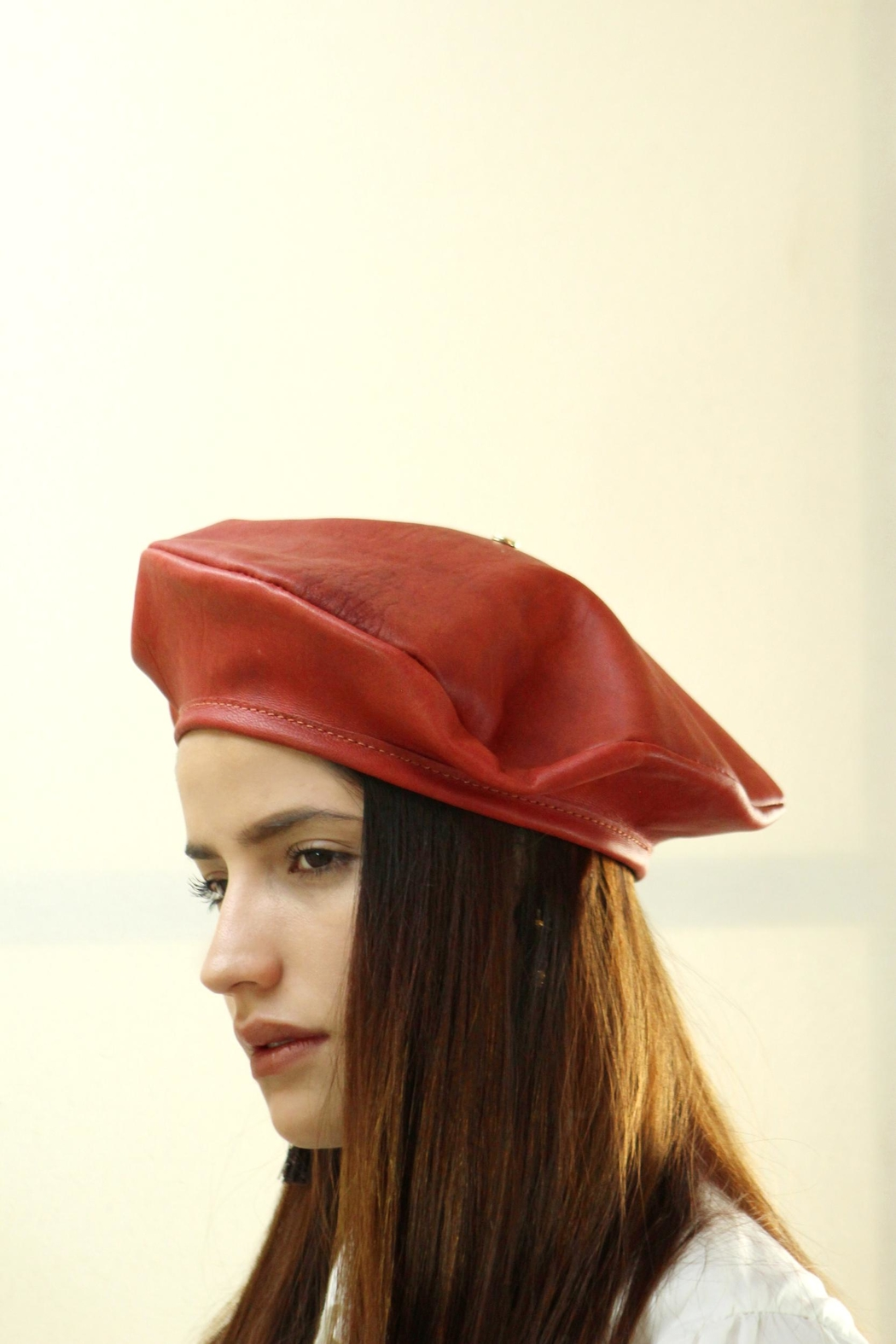 Arisch Brick Leather Beret - Main Image