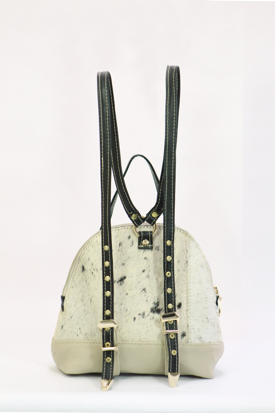 Arisch Cream Leather Backpack - Front Full Image
