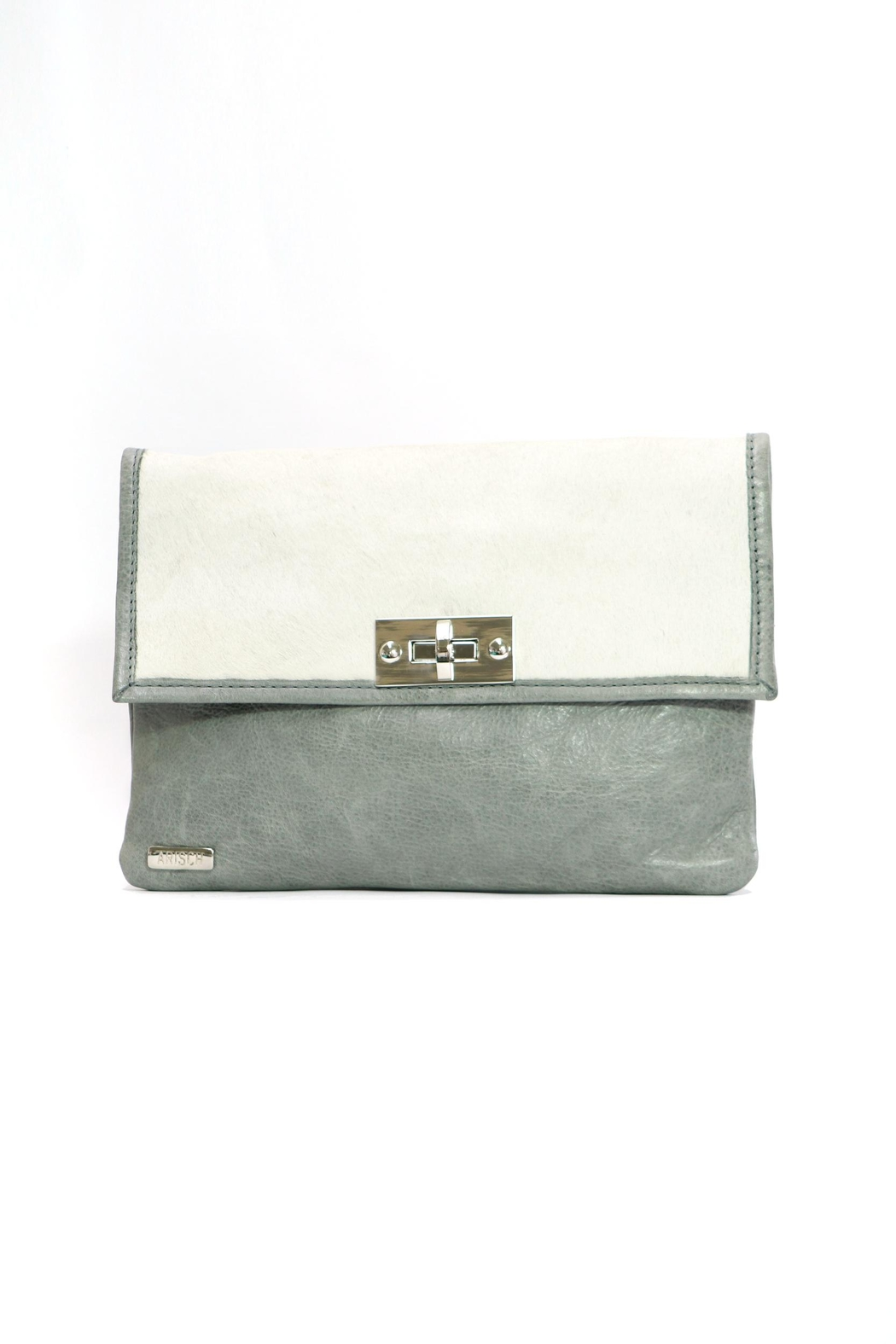 Arisch Grey & White Clutch - Front Cropped Image