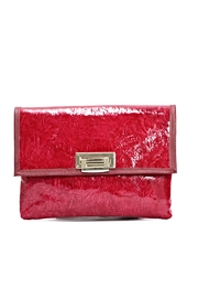 Arisch Red Leather Clutch - Front cropped