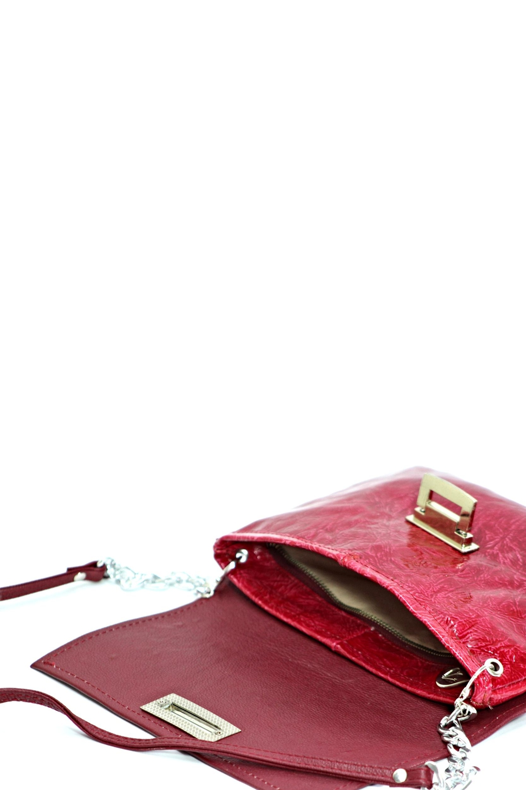 Arisch Red Leather Clutch - Side Cropped Image