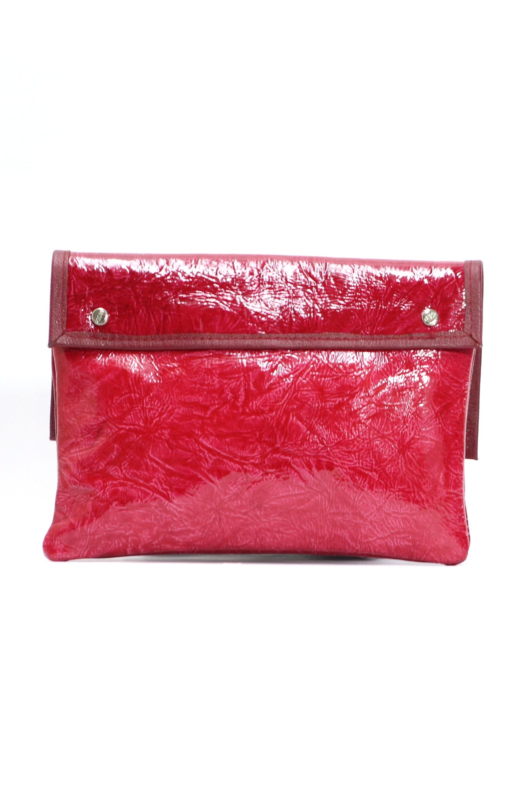 Arisch Red Leather Clutch - Front Full Image