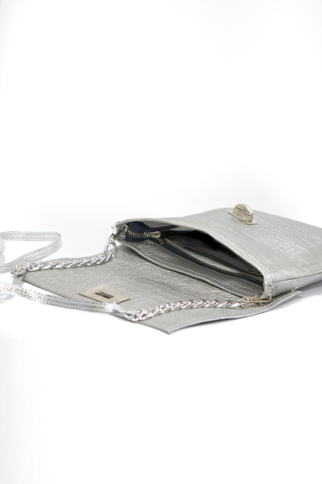 Arisch Silver Croc Clutch - Back Cropped Image