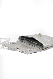 Arisch Silver Croc Clutch - Back cropped