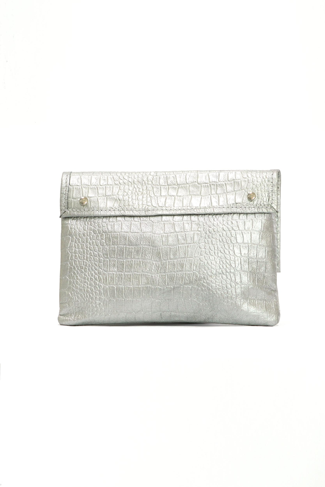 Arisch Silver Croc Clutch - Side Cropped Image