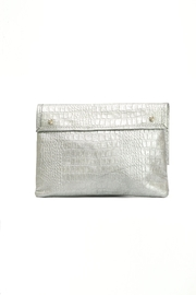 Arisch Silver Croc Clutch - Side cropped