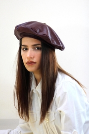 Arisch Wine Leather Beret - Product Mini Image