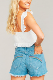 Show Me Your Mumu Arizona Embroidered Denim Shorts - Front cropped