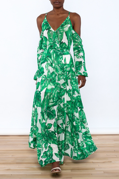 Shoptiques Product: Cold Shoulder Leaf Maxi