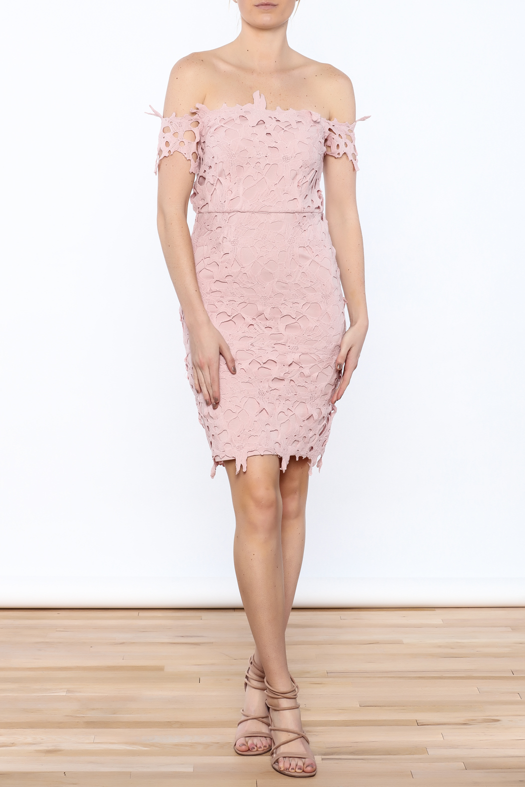 Ark & Co. Pink Crochet Dress - Front Full Image