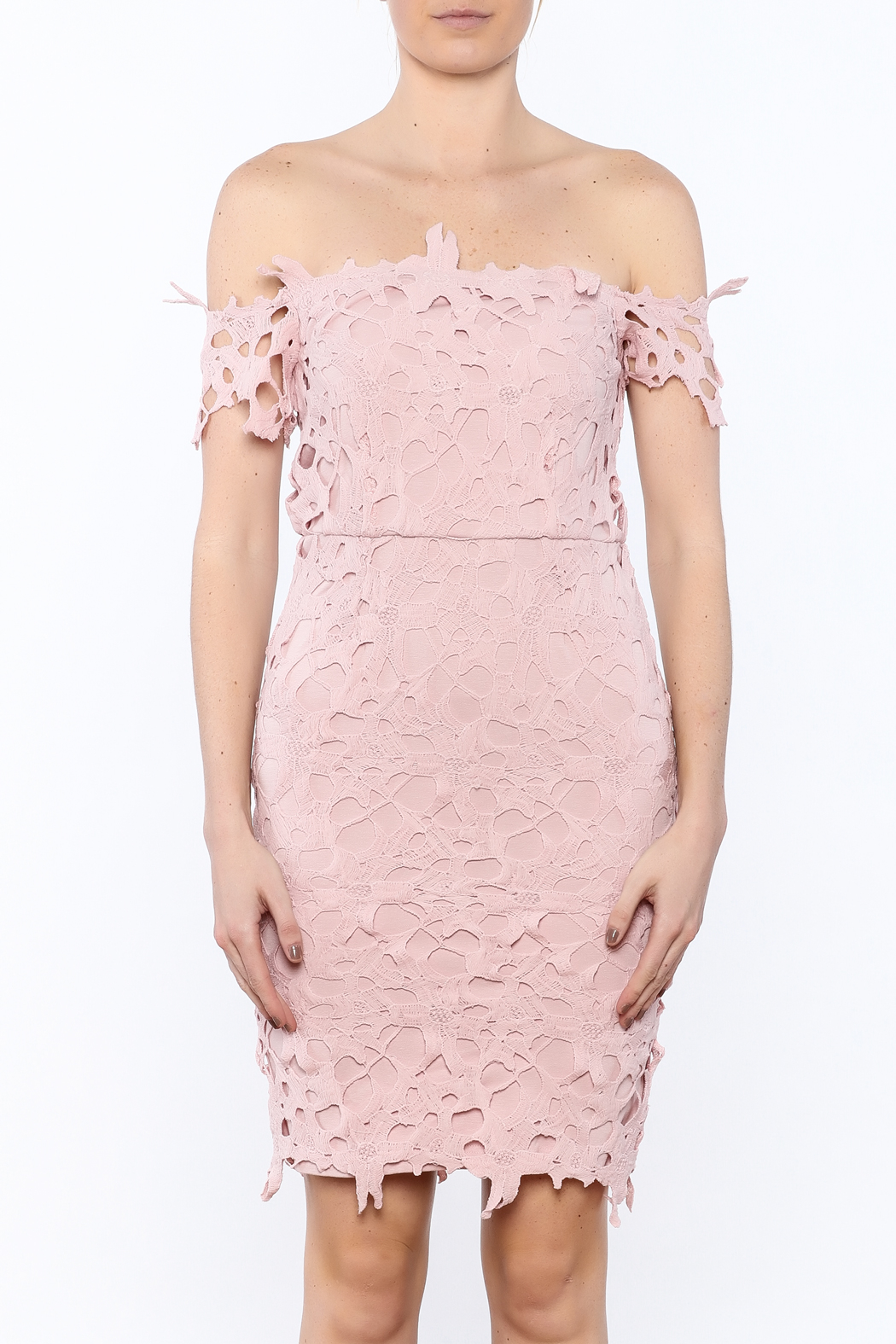 Ark & Co. Pink Crochet Dress - Side Cropped Image