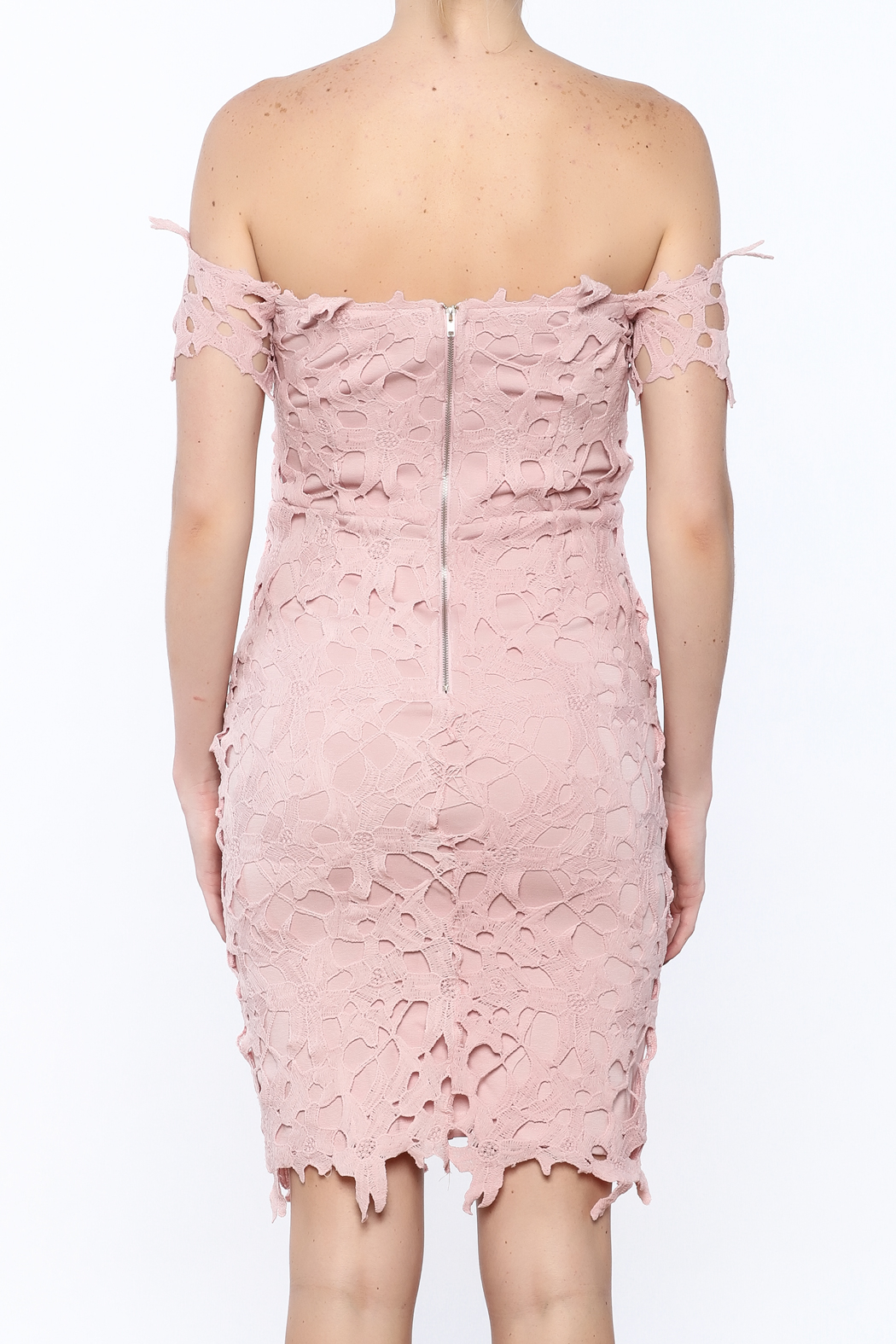 Ark & Co. Pink Crochet Dress - Back Cropped Image