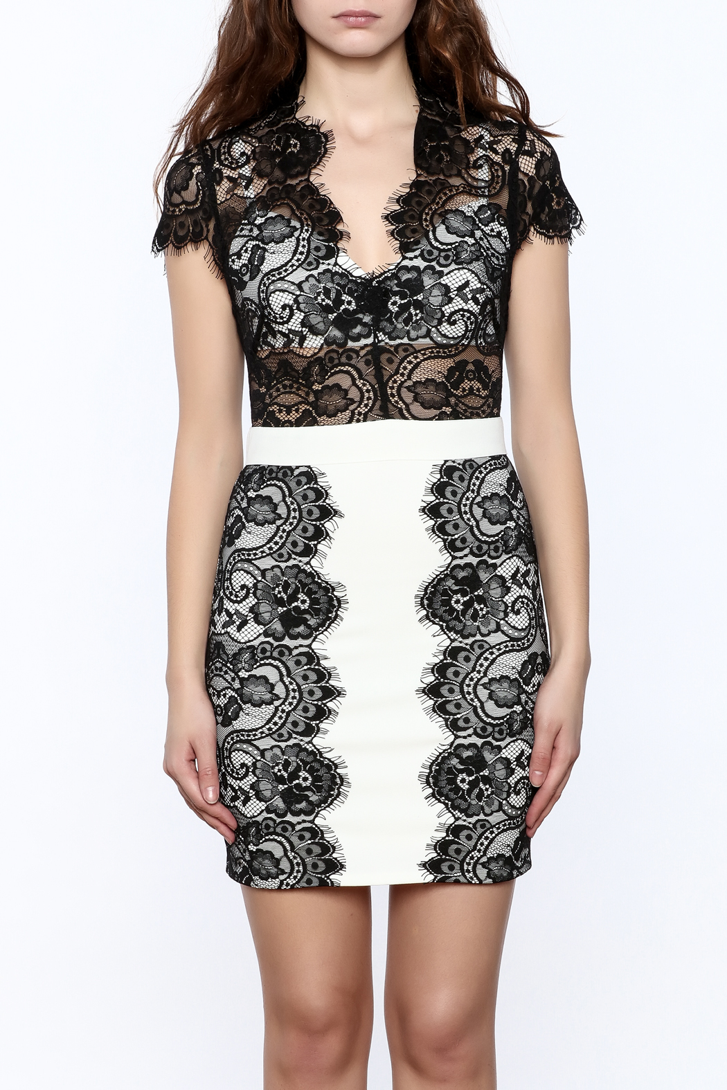 Ark & Co. Sheer Top Lace Dress - Side Cropped Image