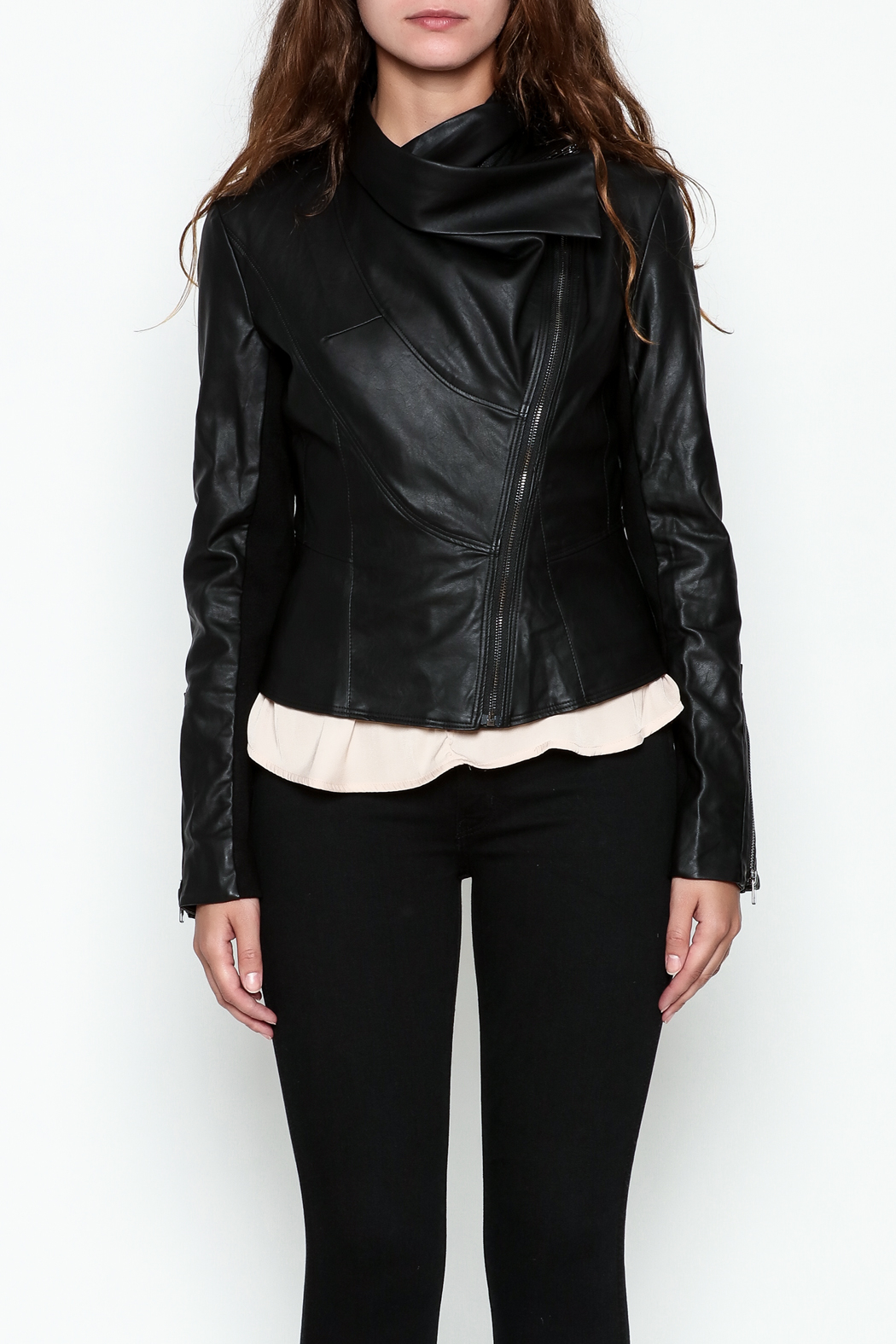 Ark & Co. Faux Leather Rider Jacket - Front Full Image