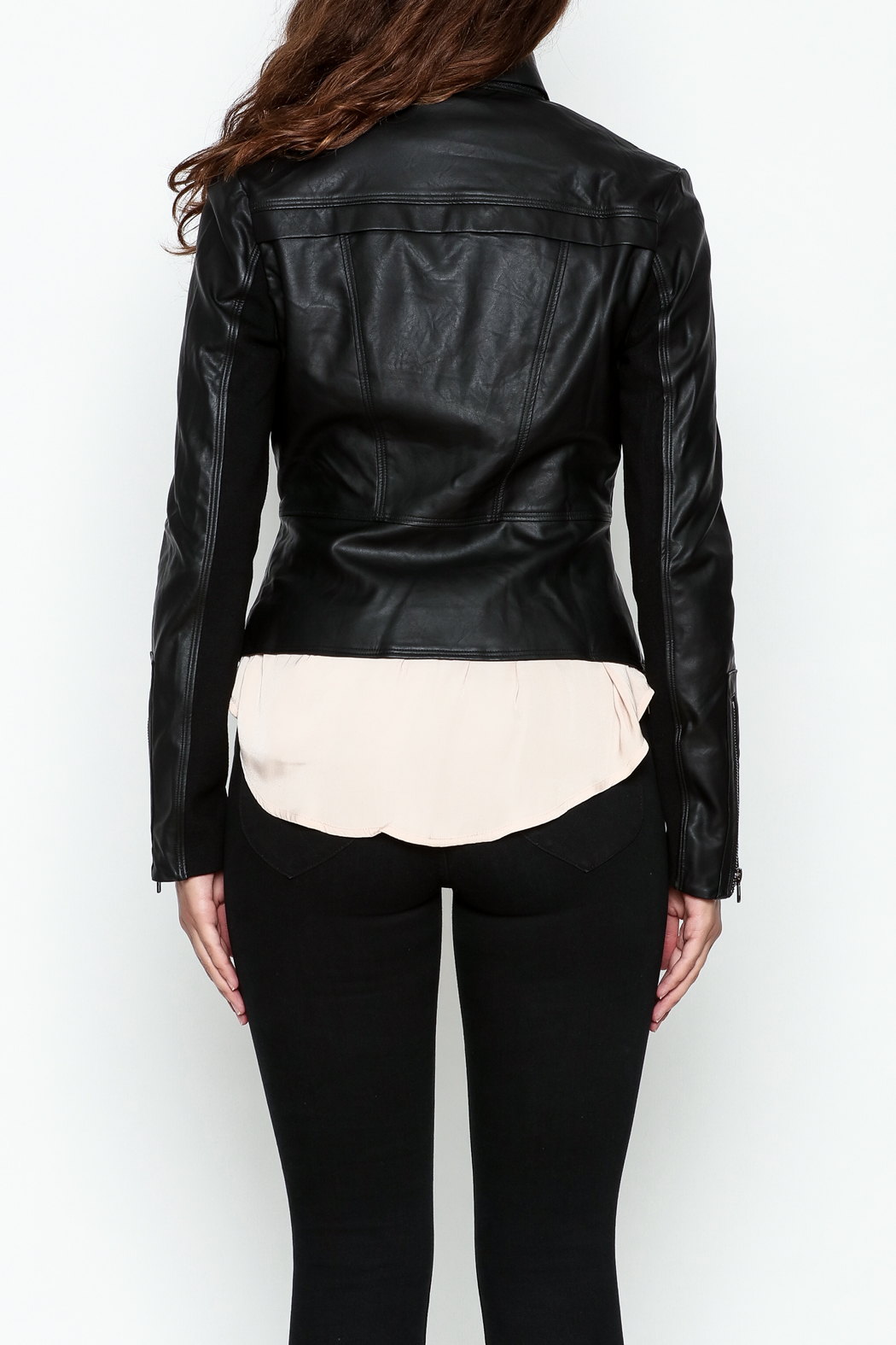 Ark & Co. Faux Leather Rider Jacket - Back Cropped Image