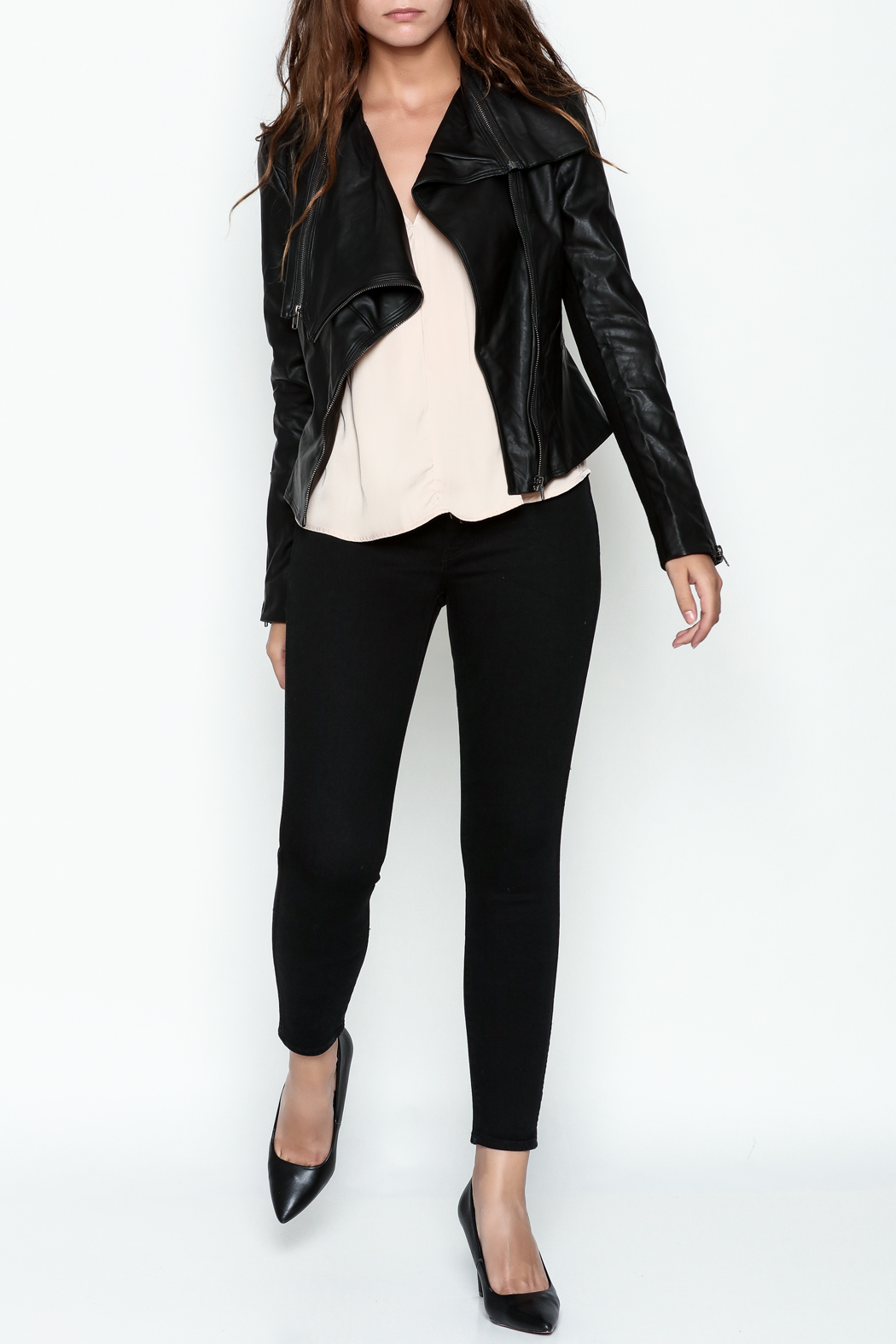 Ark & Co. Faux Leather Rider Jacket - Side Cropped Image