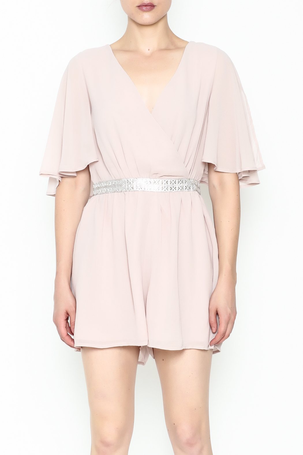 Ark & Co. Jewel Waist Romper - Front Full Image