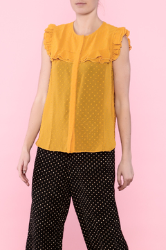 Shoptiques Product: Mustard Ruffle Top