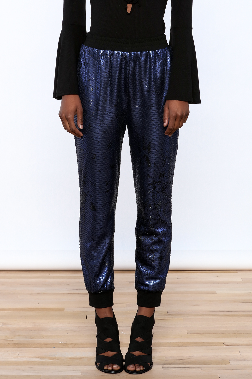 Ark & Co. Navy Sequin Jogger - Side Cropped Image