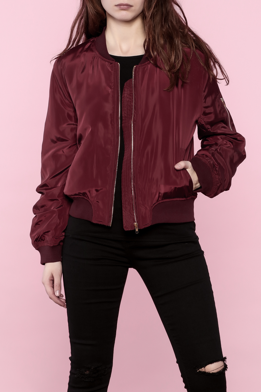 8fddf9ece6 Ark & Co. Maroon Bomber Jacket from Long Island by What A Girl Wants ...