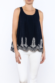 Ark & Co. Navy Embroidered Sleeveless Blouse - Product Mini Image