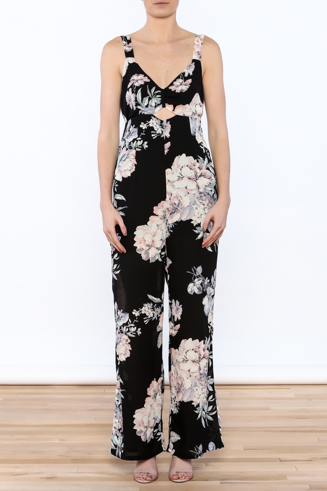 Ark & Co. Pretty In Peonies Jumpsuit - Front Cropped Image