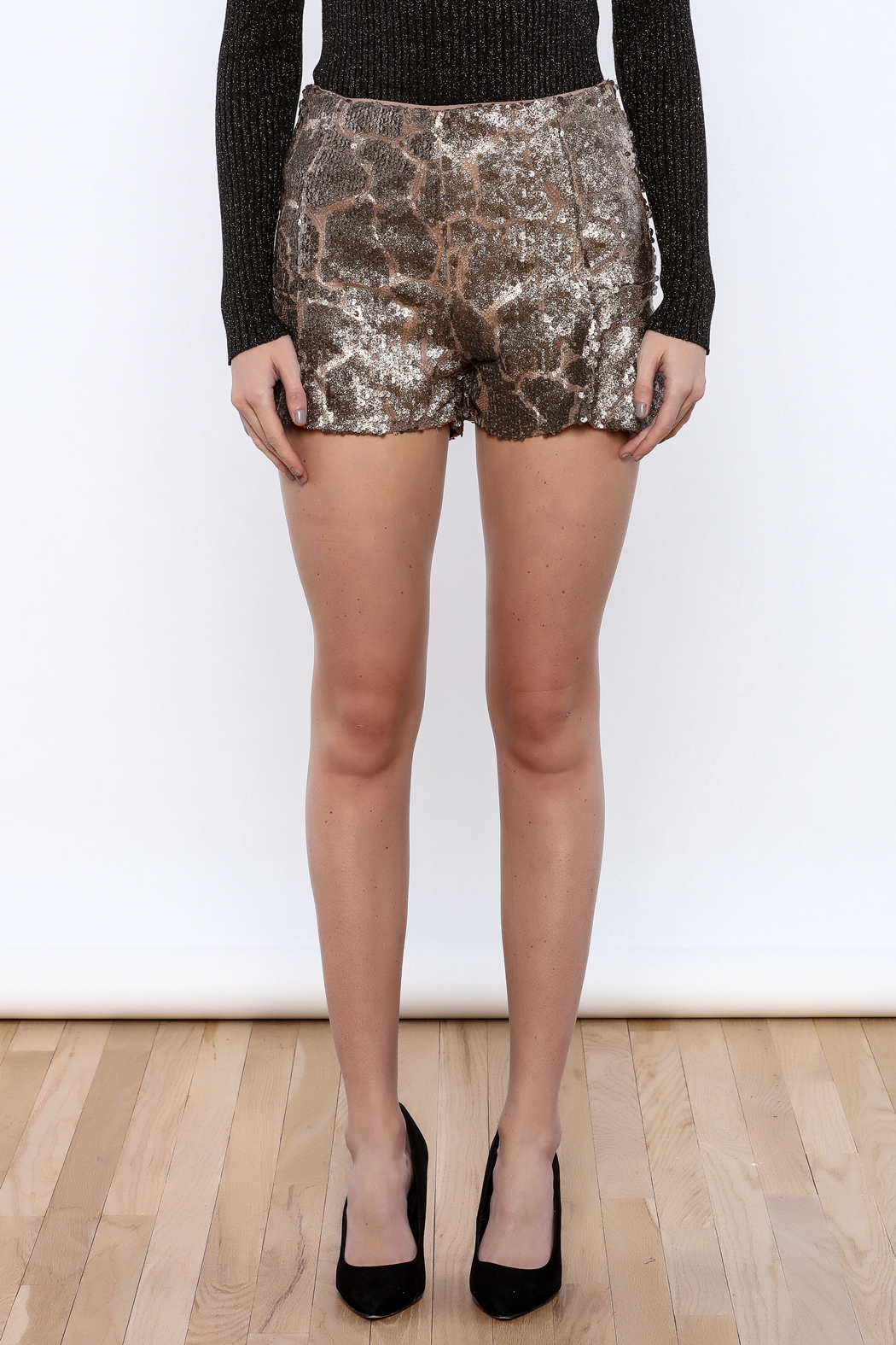Ark & Co. Sequin Mini Shorts - Side Cropped Image