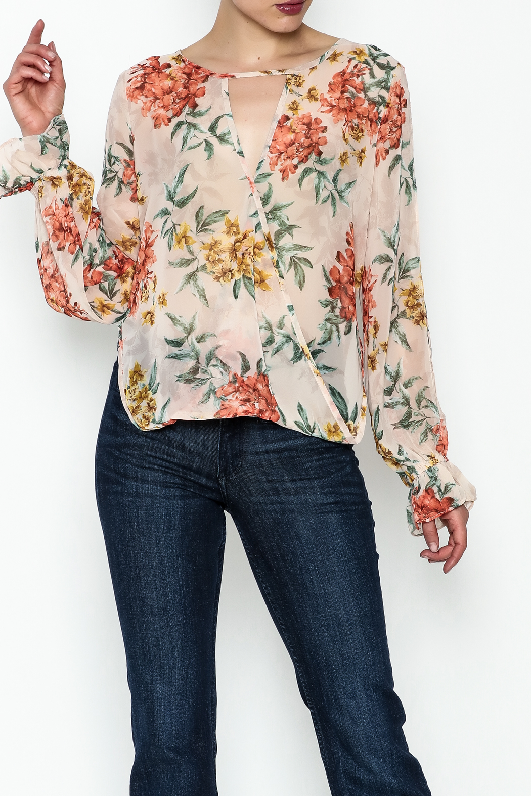 Ark & Co. Sheer Floral Blouse - Main Image