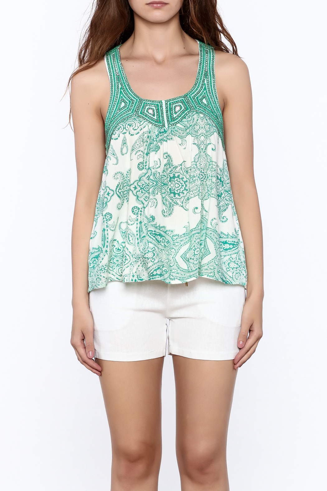 Ark & Co. Teal Paisley Tank - Side Cropped Image