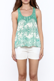 Ark & Co. Teal Paisley Tank - Side cropped