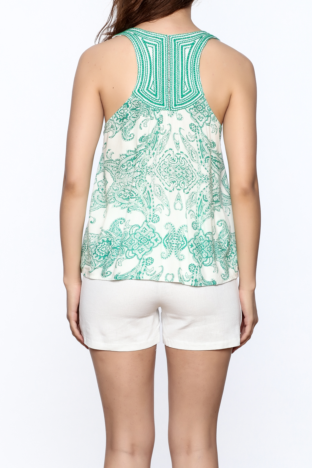 Ark & Co. Teal Paisley Tank - Back Cropped Image