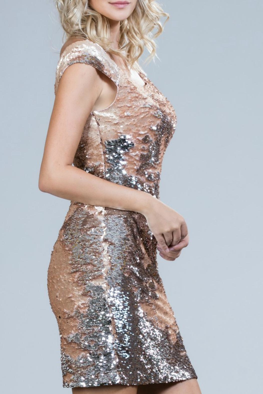Ark & Co. Blush Sequin Dress - Front Full Image