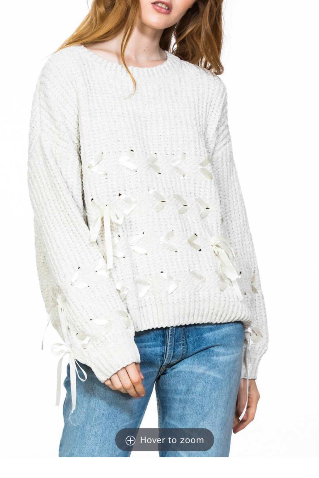 Ark & Co. Chenille Lace-Detailed Sweater - Front Full Image