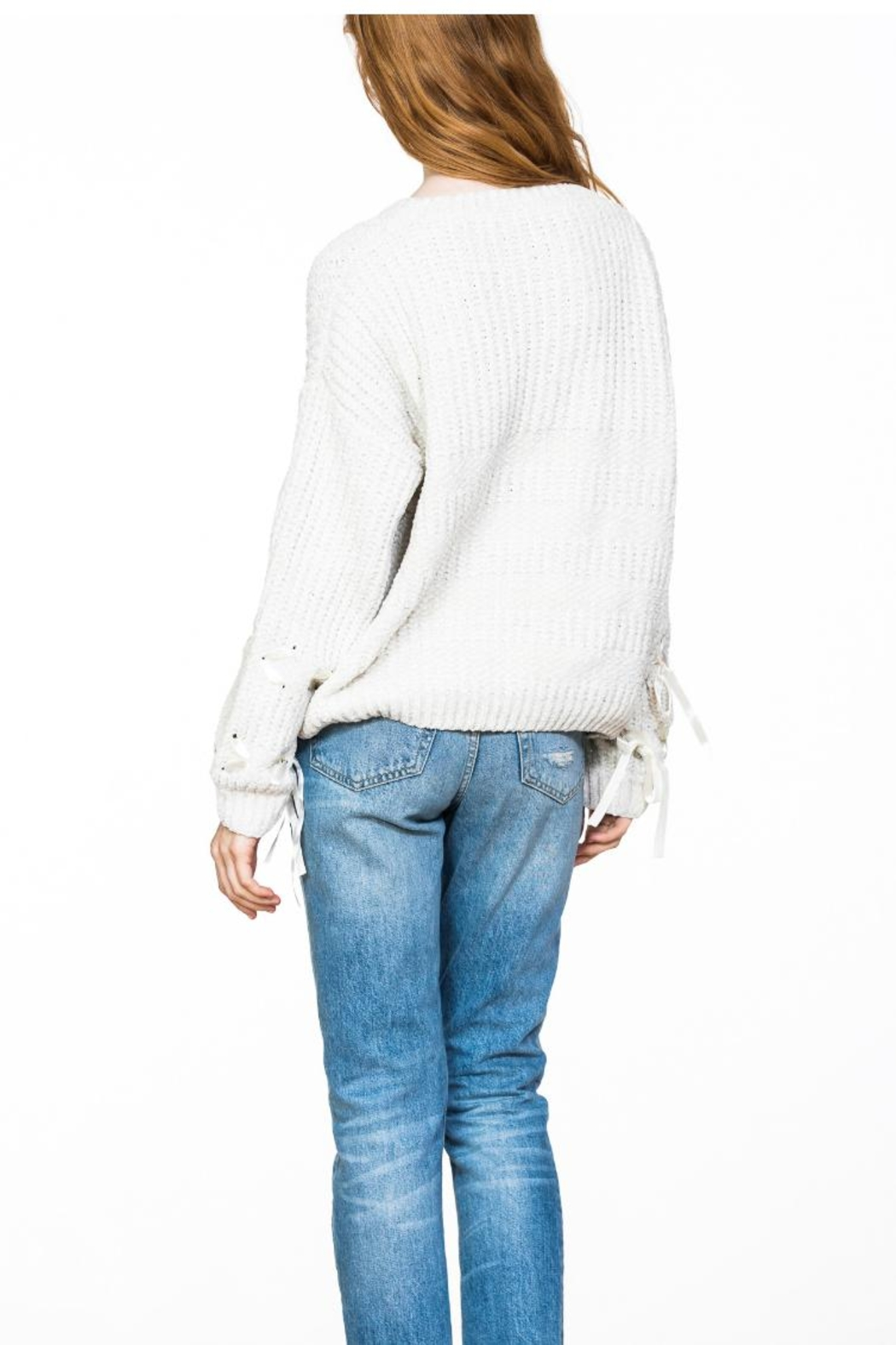 Ark & Co. Chenille Lace-Detailed Sweater - Side Cropped Image