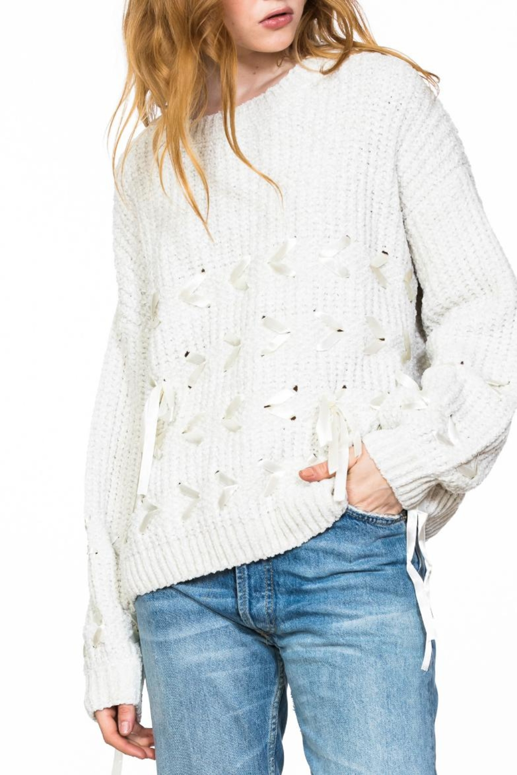 Ark & Co. Chenille Lace-Detailed Sweater - Main Image