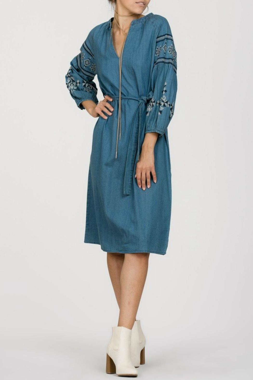 Ark & Co. Embroidered Denim Dress - Main Image