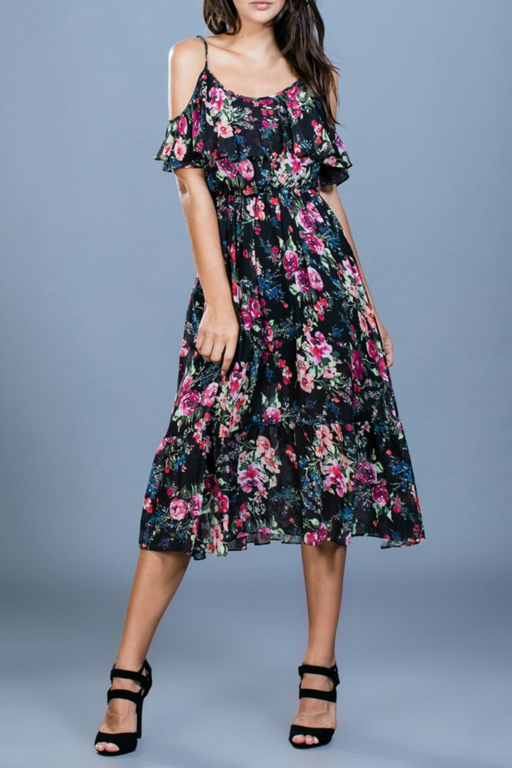 Ark & Co. Floral Midi Dress - Front Cropped Image