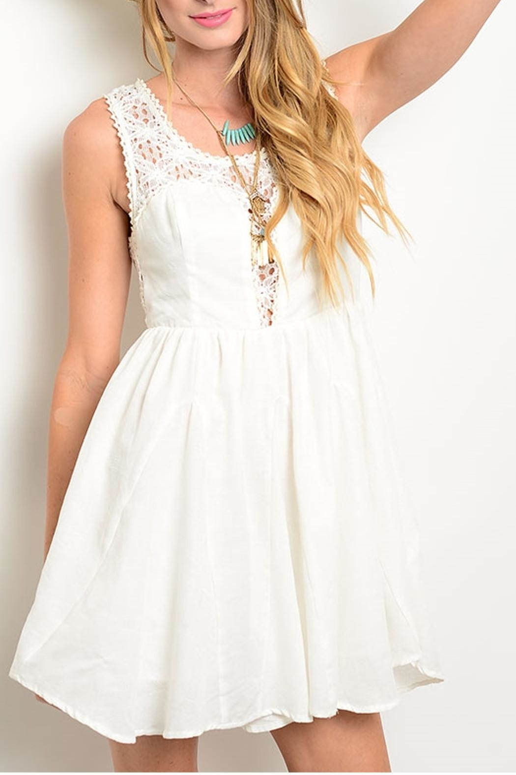 Ark & Co. Crochet Flare White Dress - Front Cropped Image