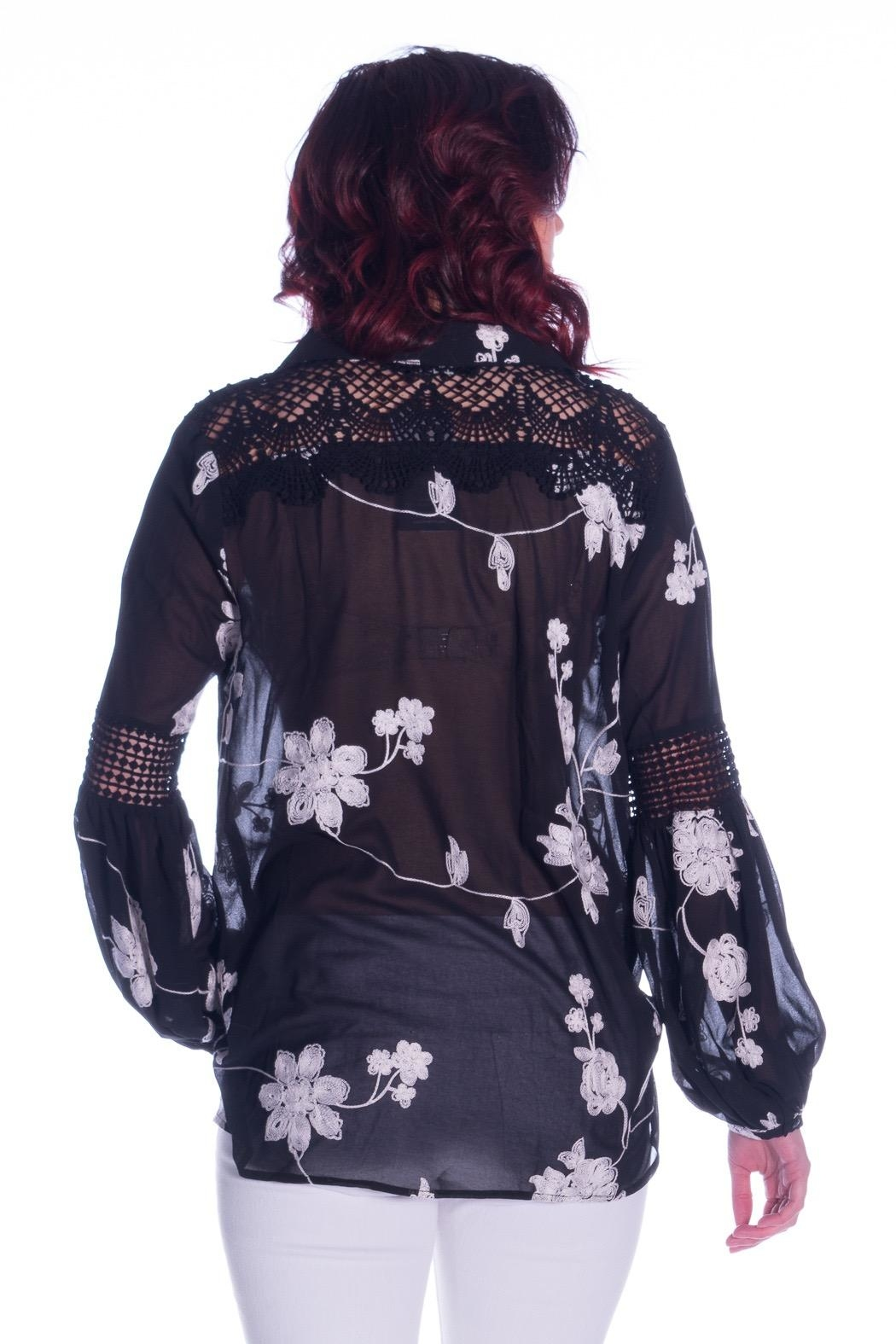 Ark & Co. Lace Embroidered Top - Back Cropped Image