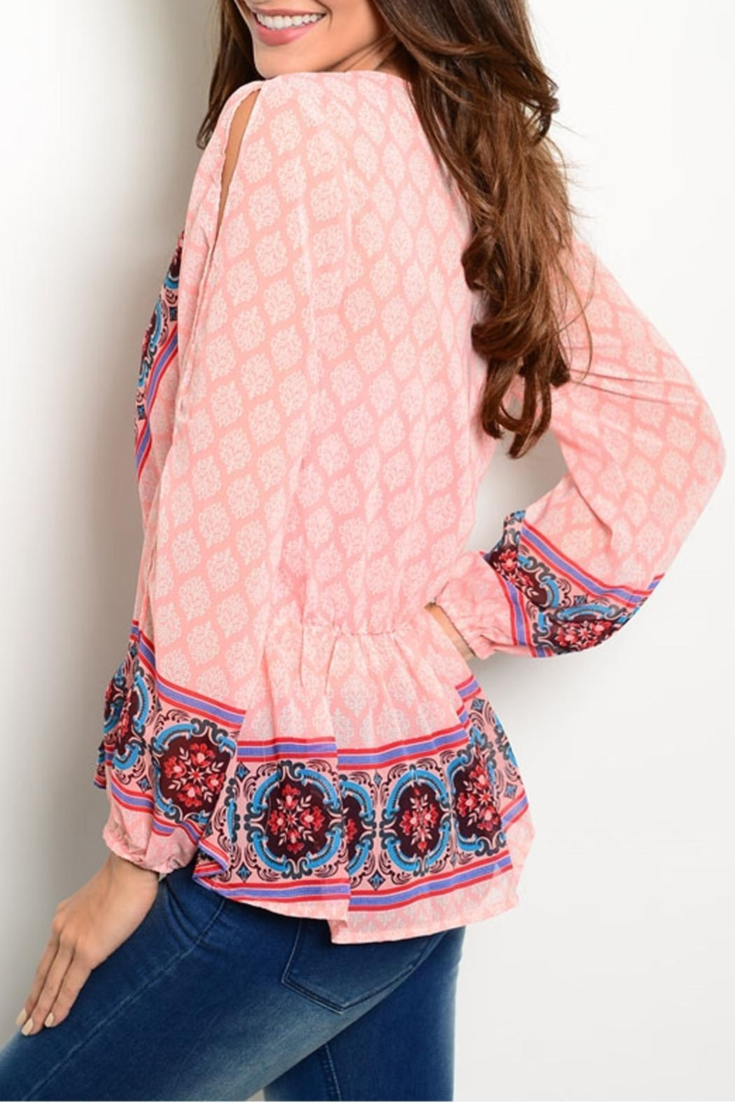 Ark & Co. Peach Moroccan Blouse - Front Full Image