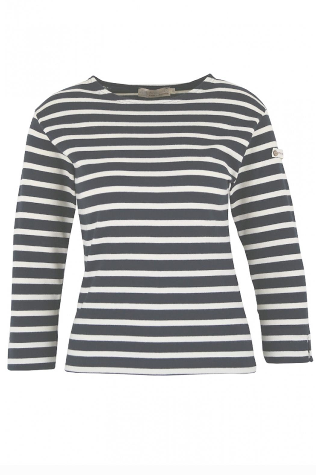 Armor Lux Navy & White Breton Shirt - Front Cropped Image