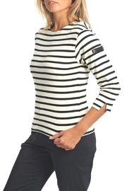 Armor Lux White & Navy Breton Shirt - Front full body