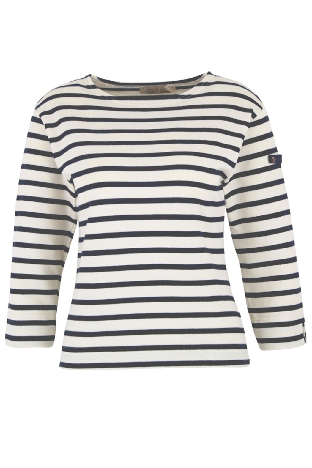 Armor Lux White & Navy Breton Shirt - Front Cropped Image