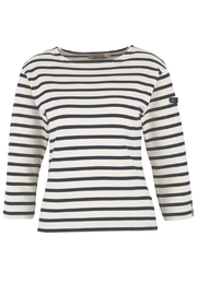 Armor Lux White & Navy Breton Shirt - Product Mini Image