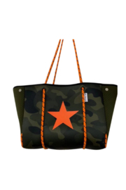 Ah!dorned ARMY CAMO NEOPRENE TOTE W/ORANGE ROPES & STAR - Product Mini Image